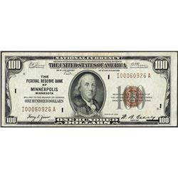 1929 $100 Federal Reserve Bank of Minneapolis Note