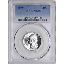 1955 Washington Silver Quarter Coin PCGS MS66