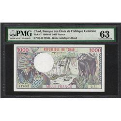 1980-84 Banque Etats Chad Africa 1000 Francs Note Pick# 7 PMG Choice Uncirculate