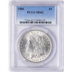 1886 $1 Morgan Silver Dollar Coin PCGS MS62