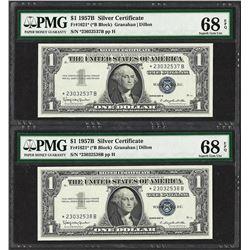 (2) Consecutive 1957B $1 Silver Certificate STAR Notes PMG Superb Gem Unc. 68PPQ