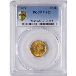 1905 $2 1/2 Liberty Head Quarter Eagle Gold Coin PCGS MS62