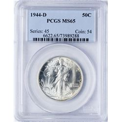 1944-D Walking Liberty Half Dollar Coin PCGS MS65