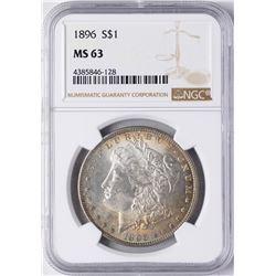 1896 $1 Morgan Silver Dollar Coin NGC MS63 Nice Toning