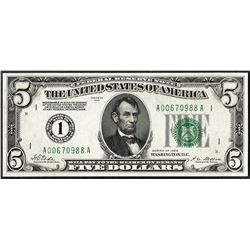 1928 $5 Federal Reserve Note Boston