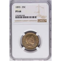 1893 Proof Barber Quarter Coin NGC PF64
