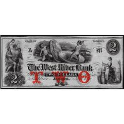 1800's $2 The West River Bank Obsolete Note