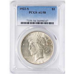 1922-S $1 Peace Silver Dollar Coin PCGS AU58