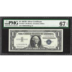 1957B $1 Silver Certificate STAR Note Fr.1621* PMG Superb Gem Uncirculated 67PPQ