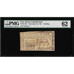 December 31, 1763 New Jersey 1 Shilling Colonial Currency Note PMG Uncirculated