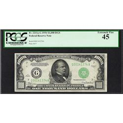 1934 $1,000 Federal Reserve Note Chicago Fr.2211-G PCGS Extremely Fine 45