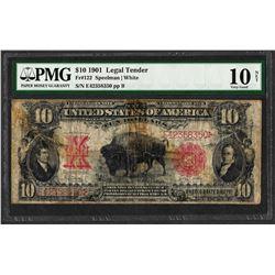 1901 $10 Bison Legal Tender Note Fr.122 PMG Very Good 10 Net