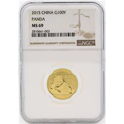 2015 China 100 Yuan Panda Gold Coin NGC MS69