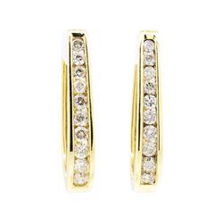 14KT Yellow Gold 1.00 ctw Diamond Hoop Earrings