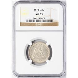 1876 Seated Liberty Quarter Coin PCGS MS63