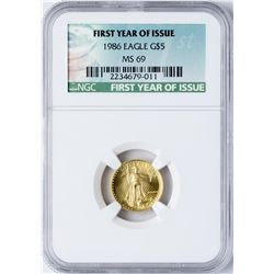 1986 $5 American Gold Eagle Coin NGC MS69 First Year of Issue
