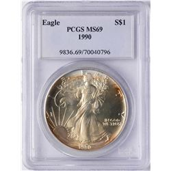1990 $1 American Silver Eagle Coin PCGS MS69 Nice Toning