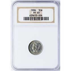 1886 Proof Three Cent Nickel Coin NGC PF65