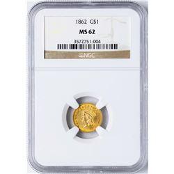1862 Type 3 $1 Indian Princess Head Gold Dollar Coin NGC MS62