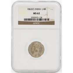 1862 India 1/4 Rupee Silver Coin NGC MS62