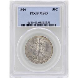1920 Walking Liberty Half Dollar Coin PCGS MS63