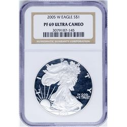 2005-W $1 Proof American Silver Eagle Coin NGC PF69 Ultra Cameo