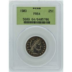 1903 Barber Silver Proof Quarter Coin PCGS PR64