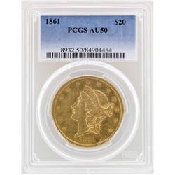 1861 $20 Liberty Head Double Eagle Gold Coin PCGS AU50