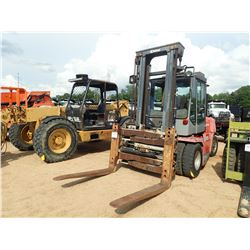 KALMER DCE-80-6 FORKLIFT, VIN/SN:T321040303 - 14,000LB CAPACITY, DOUBLE STAGE MAST, CAB, A/C, METER