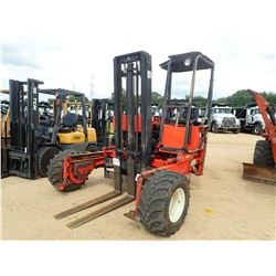 MOFFETT M5000 FORKLIFT, VIN/SN:5387 - 5,000# CAP, DOUBLE STAGE MAST, CANOPY, METER READING 921 HOURS