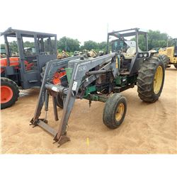 JOHN DEERE 2955 FARM TRACTOR, VIN/SN:687040 - 2 REMOTES, GL745 LOADER ATTACHMENT, ROLL BAR, 18.4-38