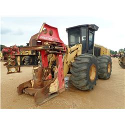 2010 CAT 553 FELLER BUNCHER, VIN/SN:HA19802 - PRENTICE SH-50 SAW HEAD, CAB, A/C, 28L-26 TIRES, METER