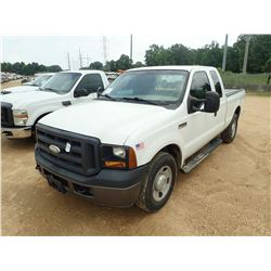 2007 FORD F250 PICKUP, VIN/SN:1FTNX20557EA47322 - EXTENDED CAB, V8 GAS ENGINE, A/T, ODOMETER READING