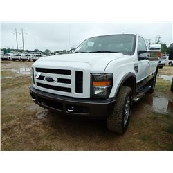 2008 FORD F250 PICKUP, VIN/SN:1FTSX20R88ED62901 - EXTENDED CAB, 4X4, POWER STROKE DIESEL ENGINE, A/T