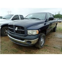 2004 DODGE RAM 2500 PICKUP, VIN/SN:3D7KU28C44G252901 - 4X4, CREW CAB, CUMMINS TURBO DIESEL ENGINE, A