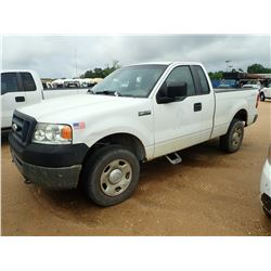 2007 FORD F150 PICKUP, VIN/SN:1FTRF14W77KB81400 - 4X4, GAS ENGINE, A/T, ODOMETER READING 185,264 MIL