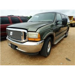 2000 FORD EXCURSION SUV, VIN/SN:YEA02271 - GAS, A/T, ODOMETER READING 119,768 MILES