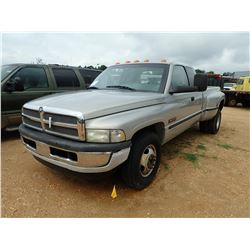 1999 DODGE RAM 3500 PICKUP, VIN/SN:1B7MC3364XJ527067 - EXT CAB, DUALLY, CUMMINS TURBO DIESEL ENGINE,