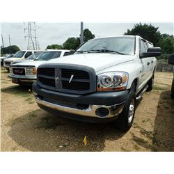2006 DODGE RAM 2500 PICKUP, VIN/SN:LD7KS28D16J154103 - 4X4, CREW CAB, V8 GAS ENGINE, A/T, BED COVER,