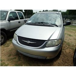 2001 CHRYSLER TOWN & COUNTRY LX1 MINI VAN, VIN/SN:2C8GP54L91R107873 - V6 GAS ENGINE, A/T, ODOMETER R