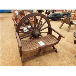TEAK WAGON WHEEL BENCH (C-6)