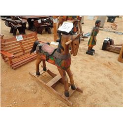 "30"" TEAKWOOD ROCKING HORSE (C-6)"