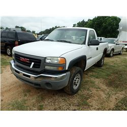 2006 GMC 2500HD PICKUP, VIN/SN:1GTHC24U26E165613 - V8 GAS ENGINE, A/T, ODOMETER READING 230,310 MILE