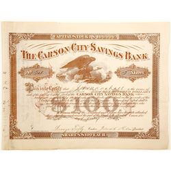 Carson City Savings Bank Stock Certificate  (91030)