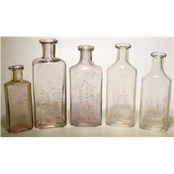 W. F. Fairchild Drug Bottles (5)  (61441)