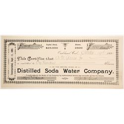 Distilled Soda Water Company Stock Certificate  (77239)