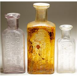 Steinmetz Druggist Bottles (3 Items ).   (59274)