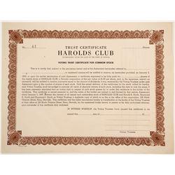 Harold's Club Trust Cert  (90578)