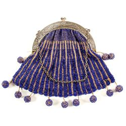Silver and Cobalt Beaded Purse  (89170)