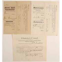 Arizona Territory District Court Subpoenas (3)  (90295)